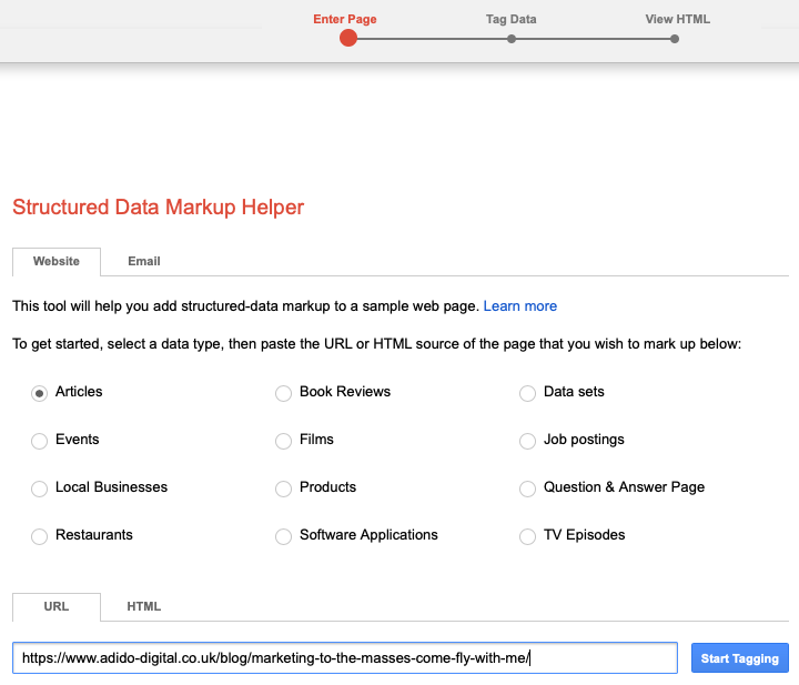 structured data markup helper step 1