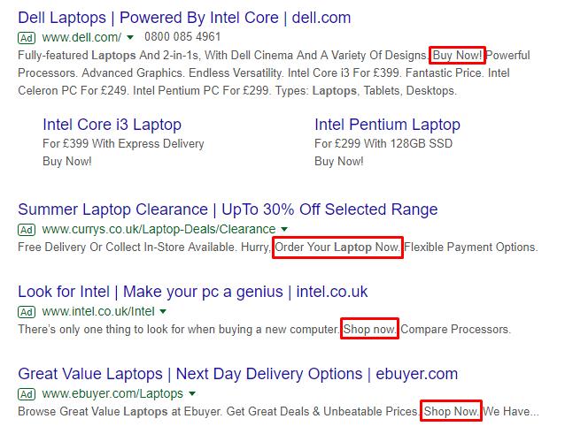 laptop ads in google serp