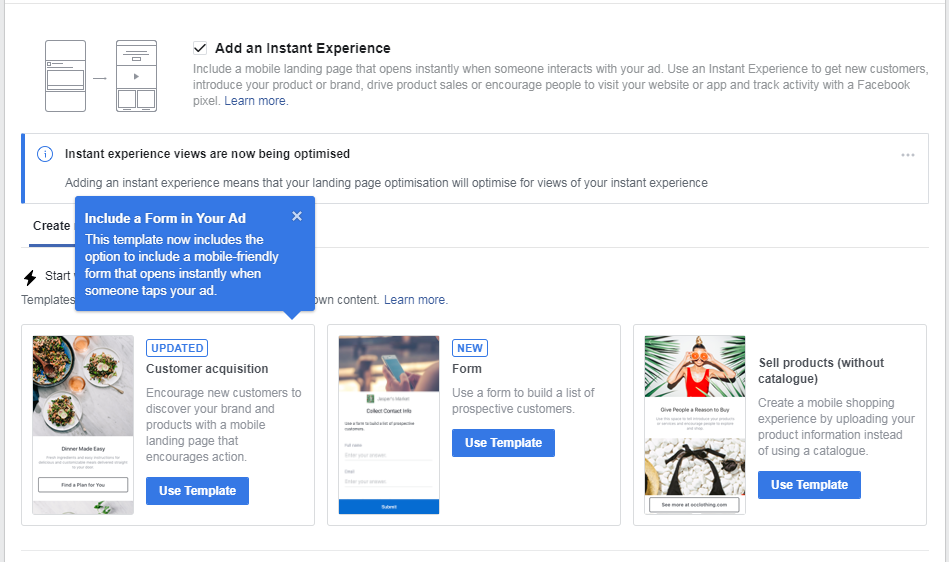 instant experiences in facebook