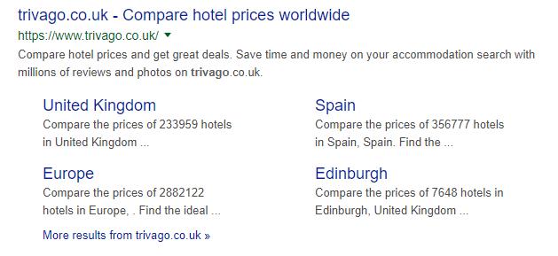 travel site sitelinks