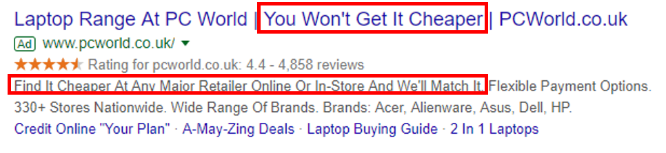 unique selling points google ads