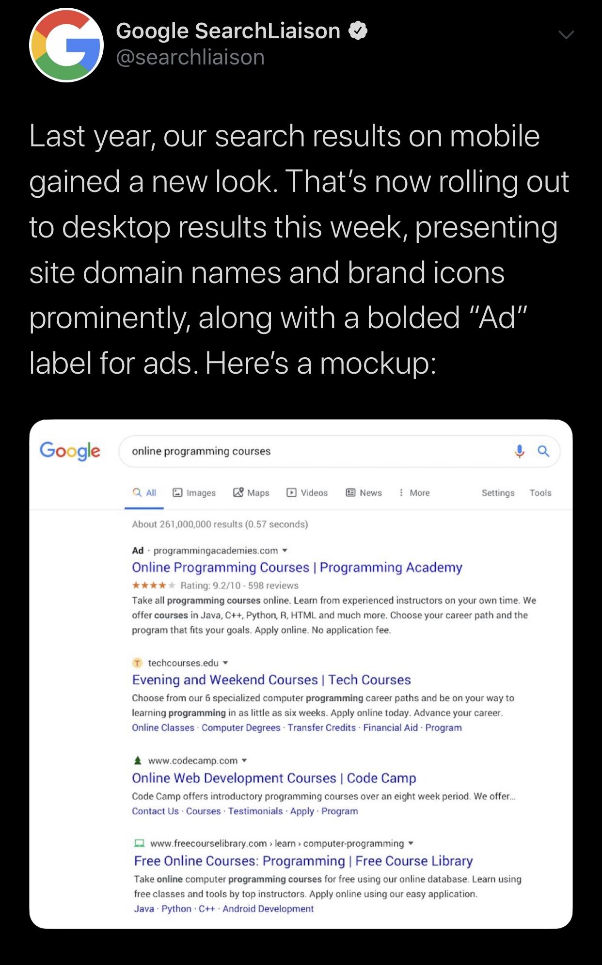 Google Favicons desktop update
