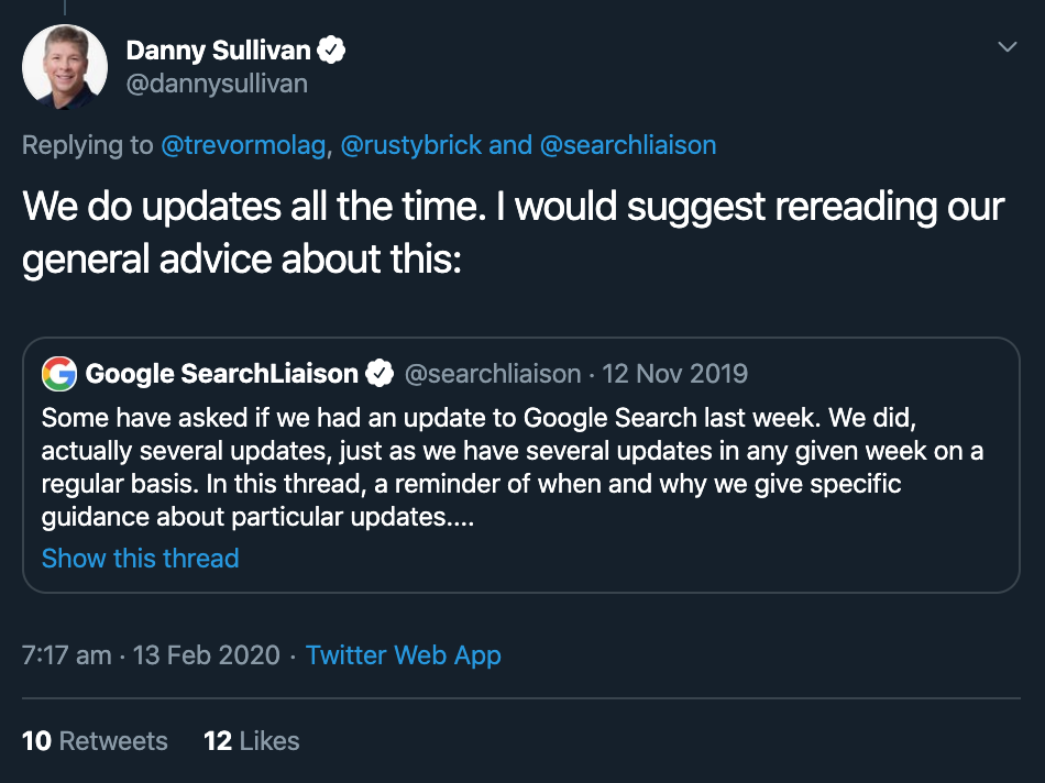 Google February 9th 2020 Algorithm Update