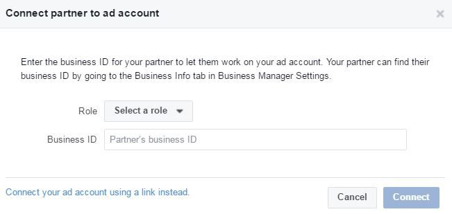 Connect partner to Ad account via ID