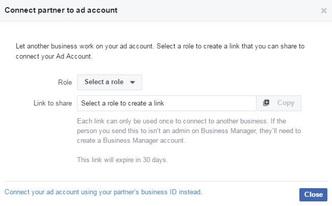 Connect partner to Facebook Ad account