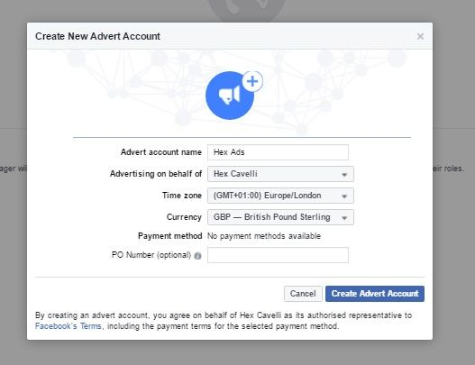 Create a Facebook advert account