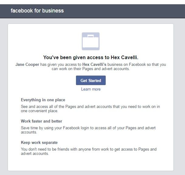 email confirmation of Facebook account access