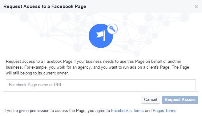 Request access to Facebook page